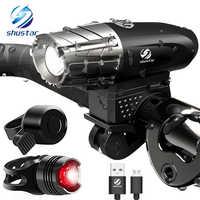 USB Перезаряжаемый светодиодный фонарик велосипедный фонарь Передняя светодиодная фара для ночной езды, рыбалки, охоты, кемпинга и т. д.