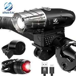 Image 1 - USBชาร์จไฟฉายLEDจักรยานโคมไฟจักรยานLEDด้านหน้าไฟหน้าสำหรับNight Riding,ตกปลา,การล่าสัตว์,camping,ฯลฯ.
