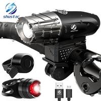 USB 충전식 LED 손전등 자전거 라이트 자전거 램프 야간 승마, 낚시, 사냥, 캠핑 등을위한 전면 LED 헤드 라이트