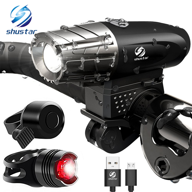 USB Rechargeable LED Flashlight Bicycle Light Bike Lamp Front LED Headlight For night riding, fishing, hunting, camping, etc.