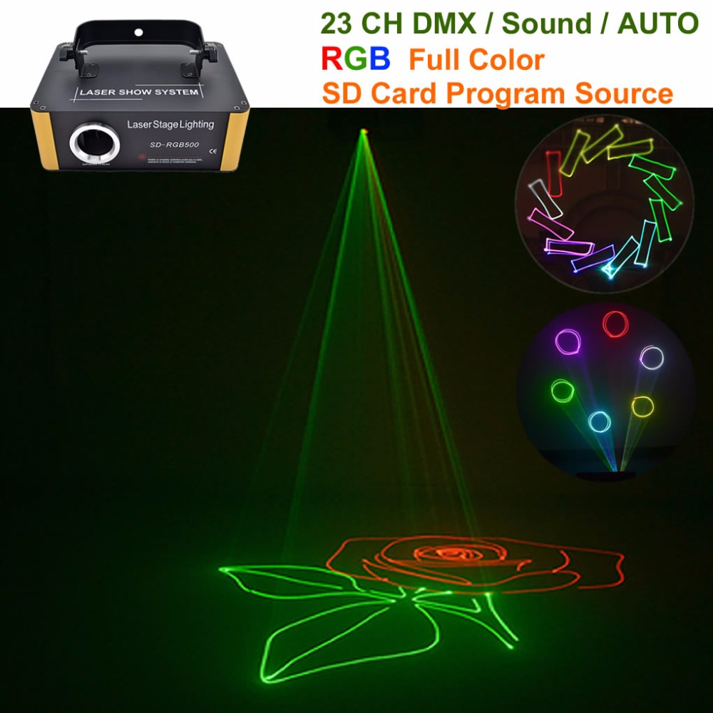TF Card Program 500mW RGB Laser DMX Animation Projector Stage Lighting DJ Party Show Light Support
