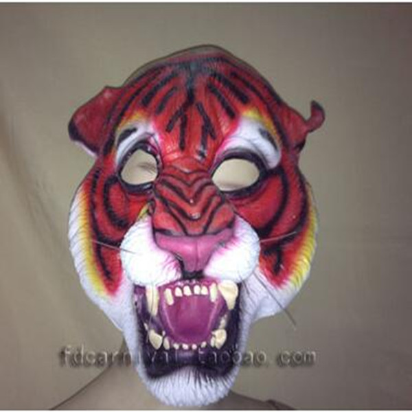 US $17 66 7% OFF|Cartoon Animals Latex Mask Adults Forest Animal Tiger Mask  Stage Performance Mask Props Scary Tiger King Face Mask in stock-in Party
