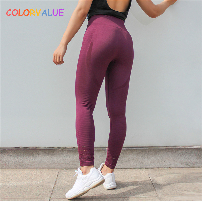 Colorvalue Super Stretchy Seamless Sport Fitness Leggings Women Tummy Control Gym Workout Pants Hollow Out Nylon Athletic Tights colorvalue solid sport fitness leggings women high stretchy yoga pants nylon mesh gym athletic leggings with triangle crotch