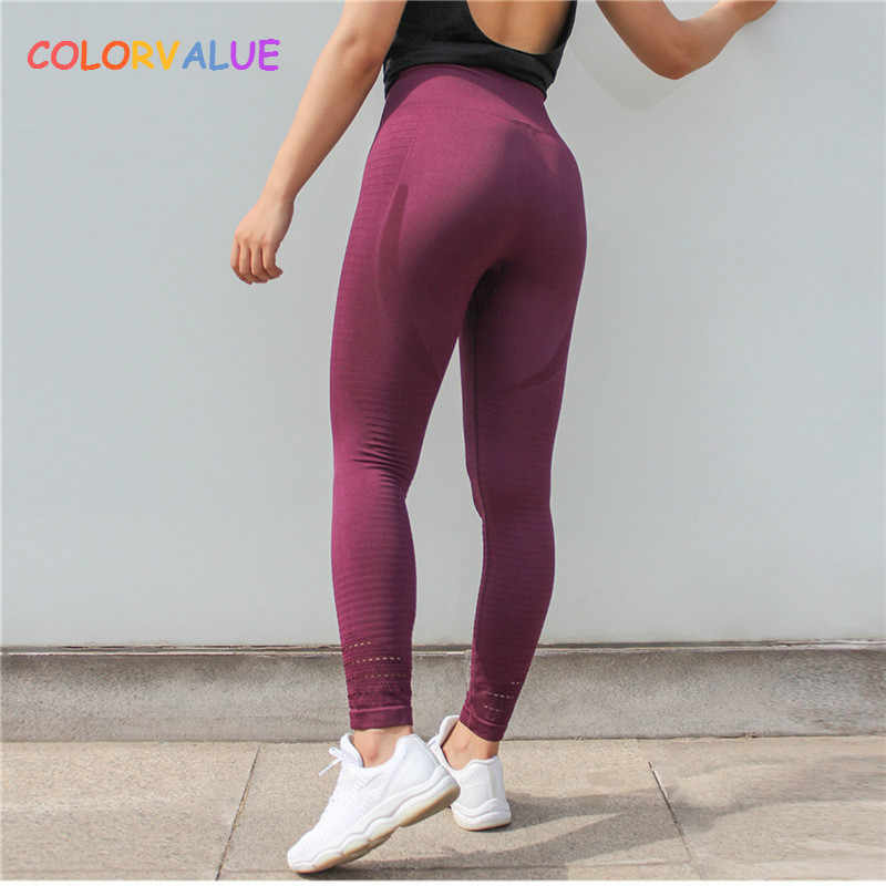 02b0590747155 Colorvalue Super Stretchy Seamless Sport Fitness Leggings Women Tummy  Control Gym Workout Pants Hollow Out Nylon