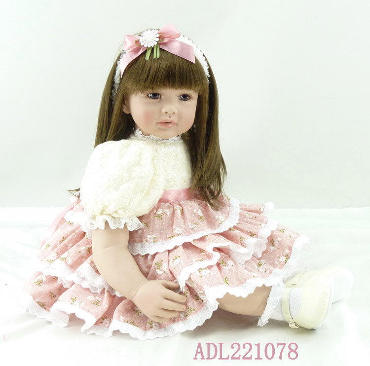 55cm Silicone Vinyl Reborn Baby Doll Toys Lifelike Fashion Baby Girls Birthday Gift Princess Dolls Collection Play House Toy