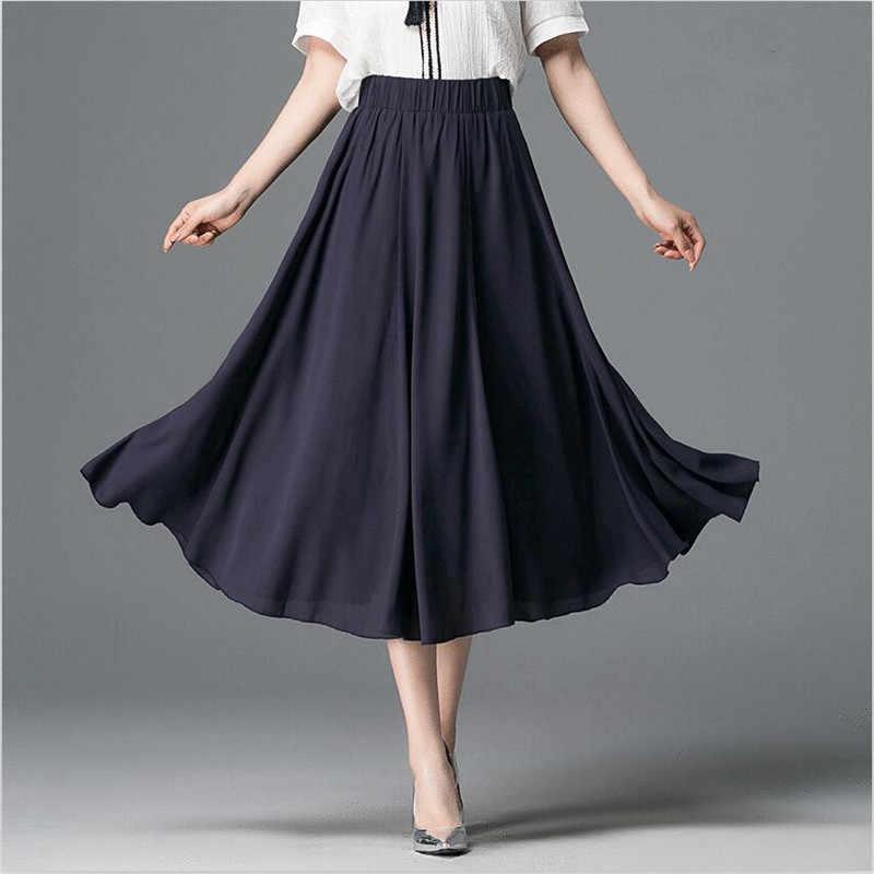 ef197a3550 Women Elegant Elastic High Waist Chiffon Skirt Casual Loose Solid Long  Skirts 7Color 2018 Summer Vestido