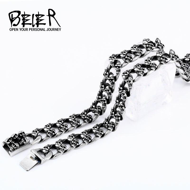 Beier 316L acier inoxydable nouveau collier crâne Punk vélo dominateur hommes collier de haute qualité bijoux LLBN1040