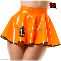 Orange With Black Pumpkin Sexy Latex skater skirt Rubber miniskirt Gummi Playsuit Bodycon swing rubber mini skirt XXXL QZ 096
