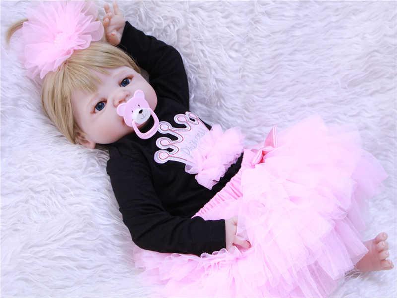 DollMai hot koop reborn baby poppen meisje lichaam volledige siliconen reborn baby poppen speelgoed voor kinderen blond haar pruik bebes reborn