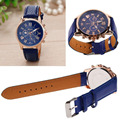 Brand new 3 Colors Women Fashion Quartz Analog Wrist Watch Geneva Leather Band Watch Girl Gift  Daily life water resistant