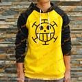 Free shipping ONE PIECE Trafalgar Law Yellow-BLACK Long sleeve Cotton thicken Hoodies&Sweatshirts cosplay costume