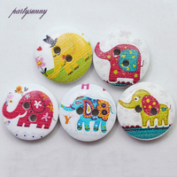 PF 15mm 2 Holes 100pcs Elephant Natural Wooden Buttons Painting Round Button Handmade Scrapbooking Sewing Embellishment NK013
