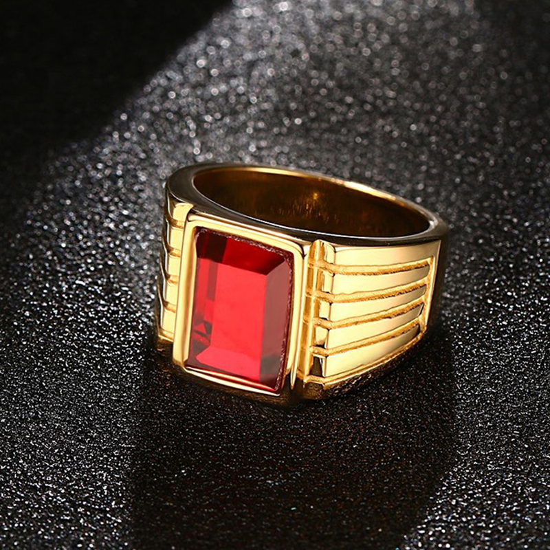 Punk Rock Style Big Red Rhinestone Mens Ring High Quality Charm Stainless Steel Ring Men Jewelry anel masculino Size 7-11