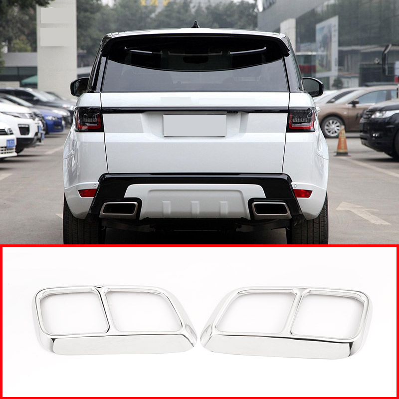 2 pcs Shiny Silver Chrome Stainless Steel Exhaust Pipe Cover Trim For Range Rover Sport 2018 2019 2020 Year Accessories-in Interior Mouldings from Automobiles & Motorcycles    2