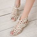 DreamShining Fashion Cutouts Lace Up Women Sandals Open Toe Low Wedges Bohemian Summer Shoes Beach Shoes Women Szie 34-39