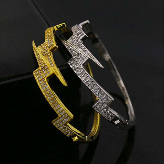 New Dope Lighting Shock Cz Iced Out Bracelet Bangles Punk Style Uni Bling Beacelet Jewelry