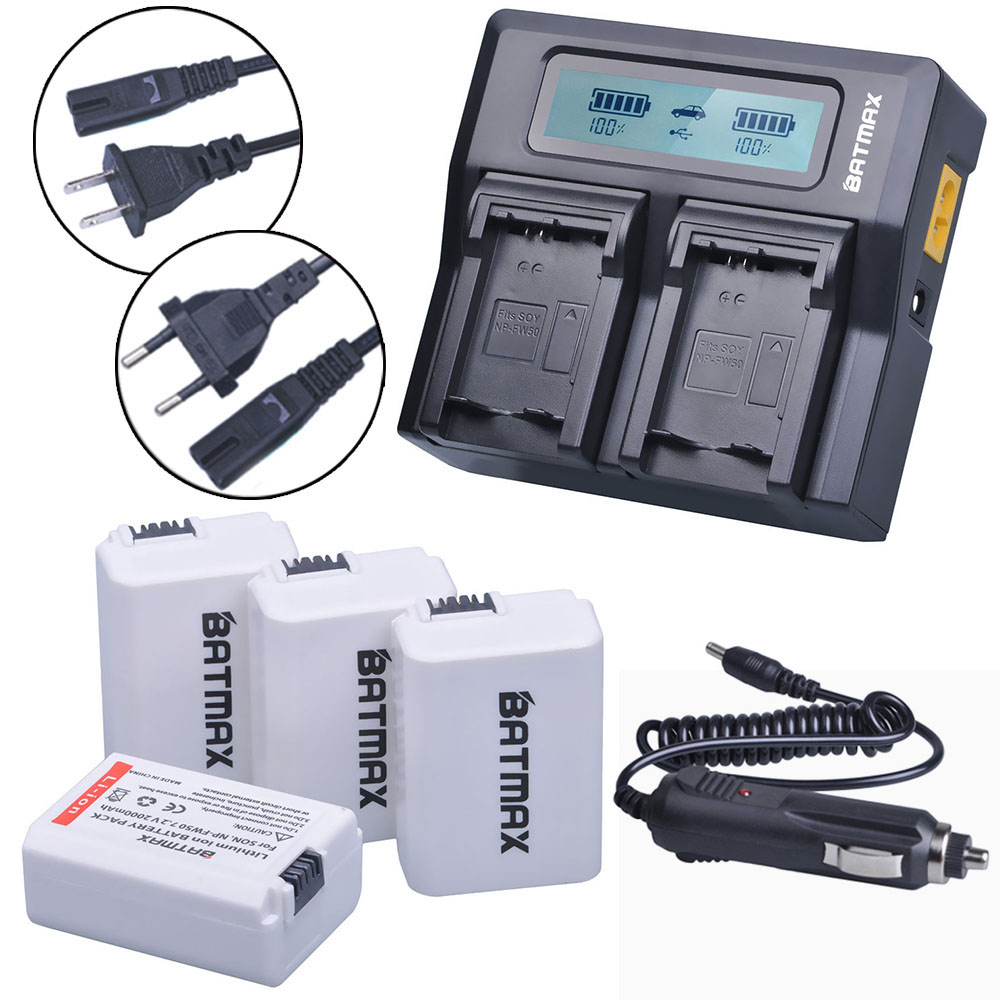 4Pcs NP-FW50 FW50 NPFW50 Camera Battery+LCD Ultra Fast 3X Faster Dual Charger for Sony a37 Alpha 7 7R II 7S a7R II a5000 NEX-7 4pcs 2000mah np fw50 npfw50 np fw50 battery batterie bateria akku lcd usb dual charger for sony nex 3 nex 5c alpha a55 nex c3