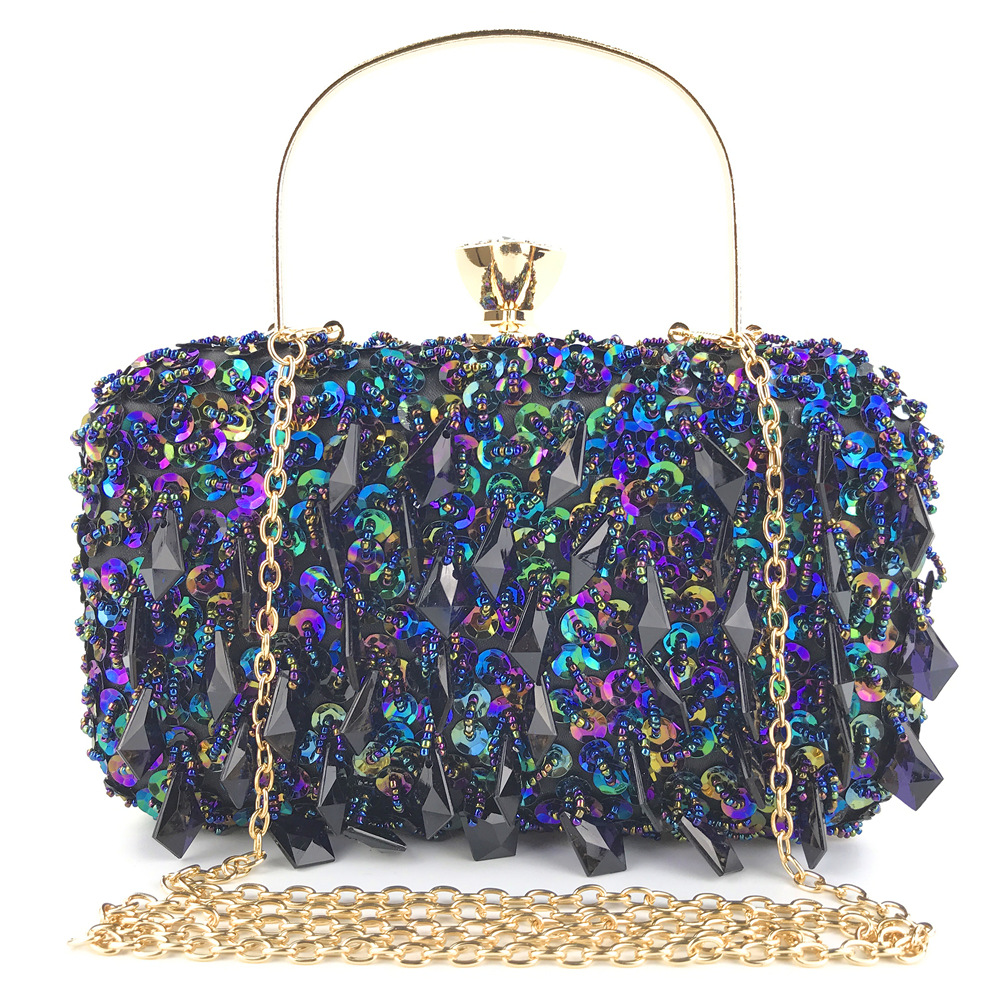 Bead Bags Crystal-Decoration Clutches Crossbody-Bag Party-Handbag Evening-Bag Fashion