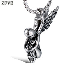 6e007fd70a47 ZFVB Classic Angel Wings Pendant Necklaces Men 316L Stainless Steel Feather  Girls Pendants Necklace Vintage Jewelry Bijoux Gift