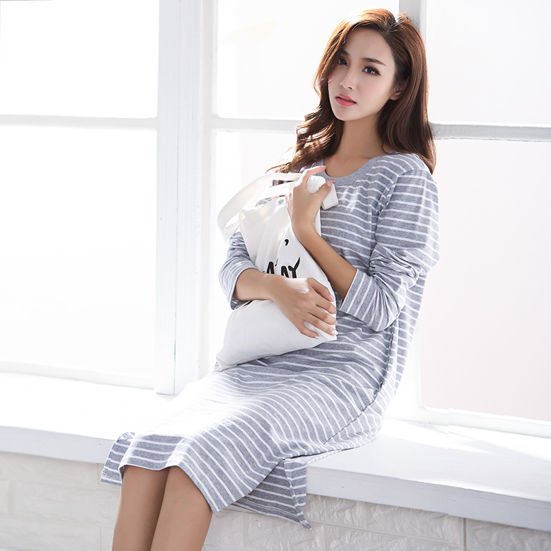 Brand 100% Cotton Women's   Nightgown   Lounge Nightdress Mujer Striped Sleepwear Casual Nightwear Girl Loose   Nightgowns     Sleepshirt