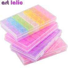 28 слотов, прозрачные радужные стразы для дизайна ногтей, чехол для хранения для украшения ногтей, пластиковая коробка для украшений, контейнер-Органайзер
