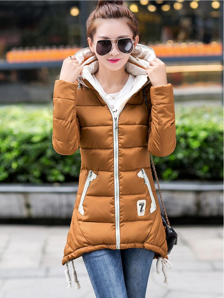 ФОТО 2016Wadded Jacket Female New Women's Winter Jacket Cotton Jacket Slim Parkas Ladies Coat Plus Size M-3XL Parkas For Women Winter