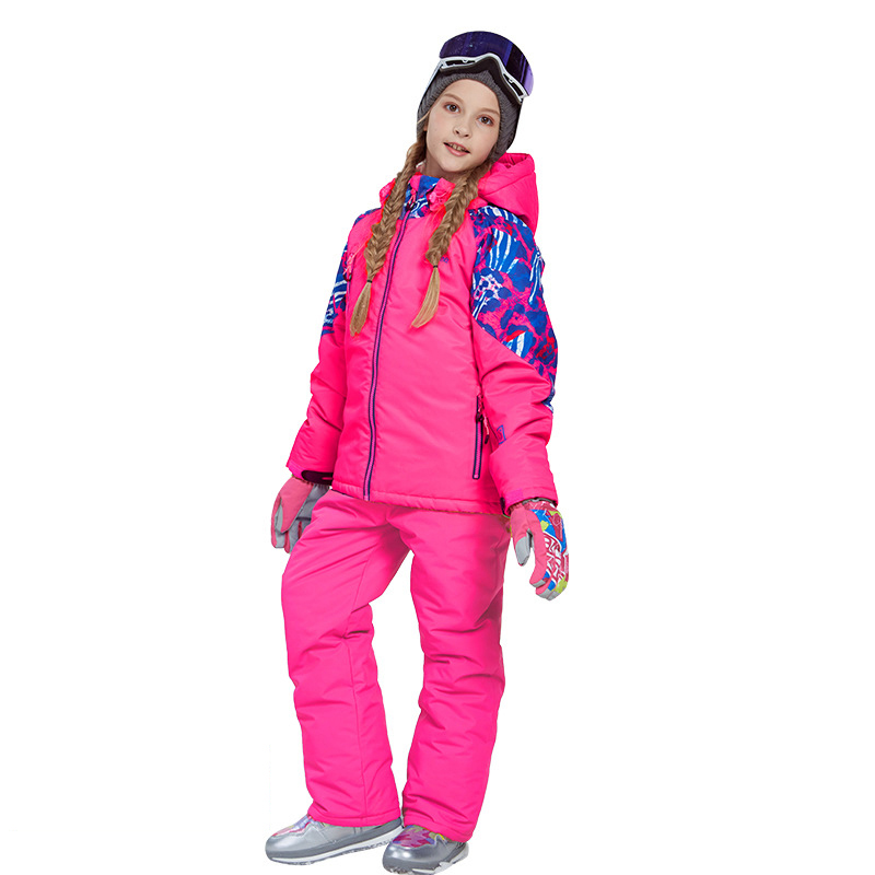 Dollplus Children Ski Snow Suit Winter Clothing Waterproof Jacket Pants Overalls Teens Girl Sports Outdoor Wear Set Ski Outfit