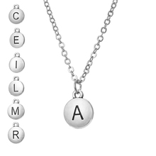 SKYRIM Women Round Metal Pendant Necklace Letter A C E I L M R Link Chain Statement Choker Necklaces Jewelry Birthday Gift цена и фото