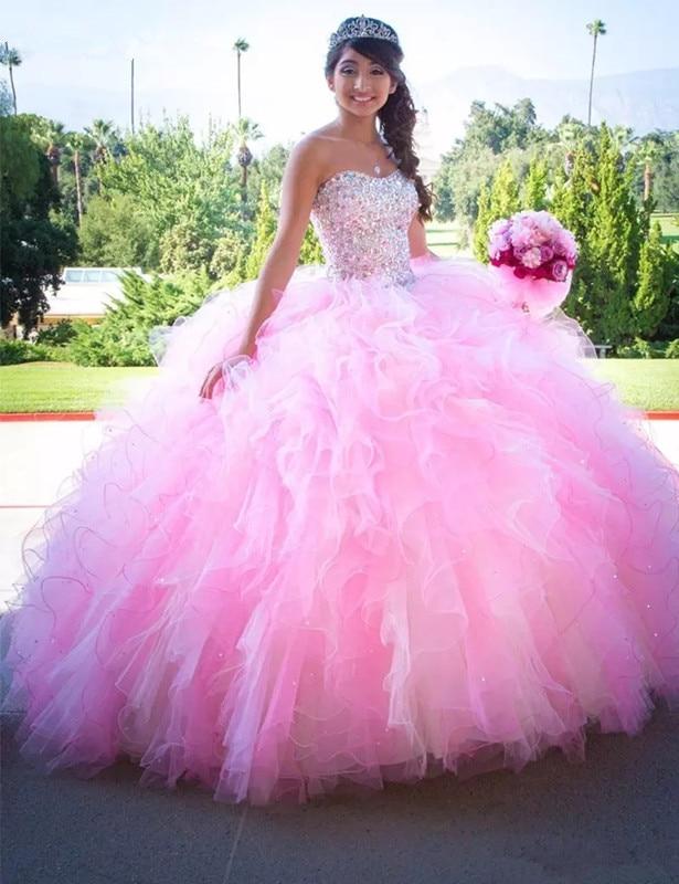 Quinceanera Dresses Pink Ball Gown Sweetheart vestidos 15 anos de princesa Ruffles Puffy Skirt Glitter Beaded