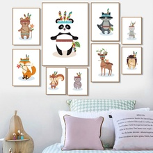 Fox Panda Hedgehog Sika Deer Rabbit Owl Wall Art Canvas Painting Nordic Posters And Prints Cartoon Pictures Kids Room Decor