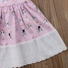 Easter Girl Pink Bunny Printed Dress