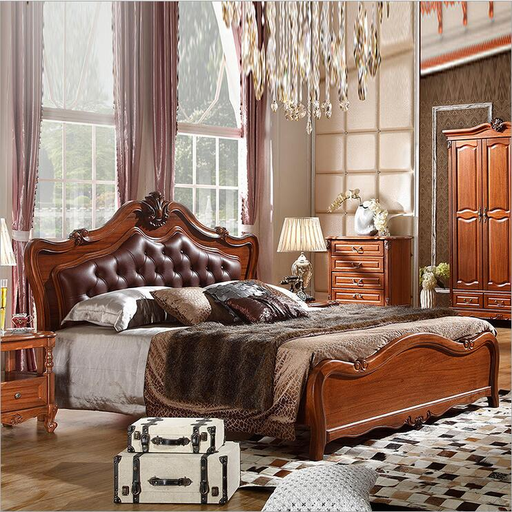 modern european solid wood Walnut bed Fashion Carved genuine leather french bedroom furniture 10315