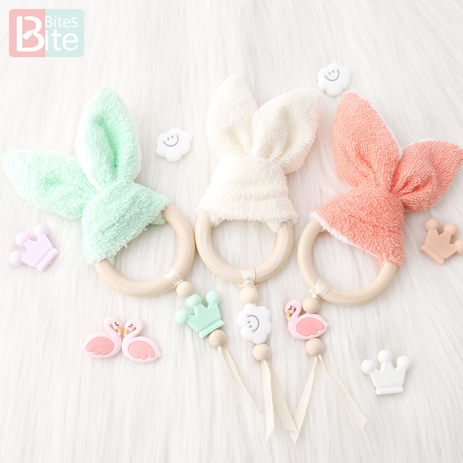 Bite Bites 1pc Bunny Ear Silicone Beads Cartoon Teething Wooden Ring Cute Pendant Making Pacifier Clips Chain Baby Teether