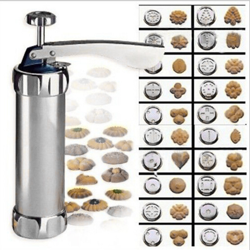 Cookie Biscuits Press Machine Home Kitchen Hand Make Pump Tools Baking Pastry Maker Set 20 Moulds Breakfast Appliance Supplies
