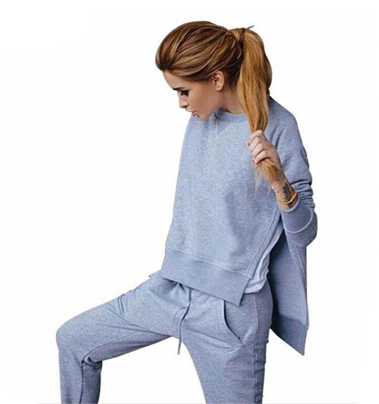 Women Tracksuit Long Sleeve Slit Solid Sweatshirts Casual Suit Women Clothing 2 Piece Set Tops Pants Sporting Suit Female 3