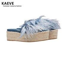 Kaeve 2018 Hot Sale Woman Feather Embellised Thick Platform Summer Slippers Girls Slingback Outside Shoes Lady Open Toe