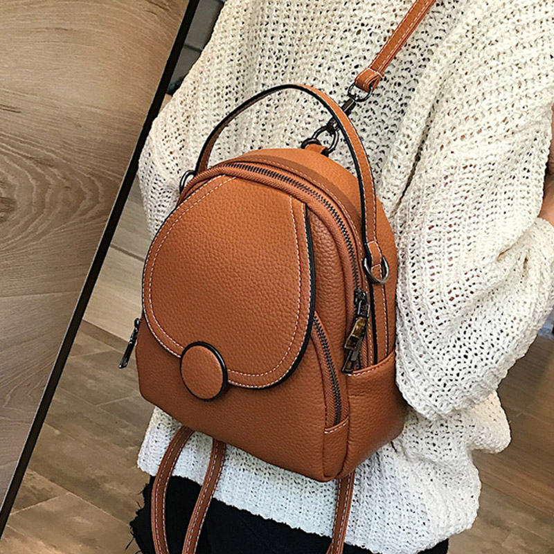 New Designer Fashion Women Leather Backpack Mini Soft Touch Multi-Function Small Backpack Female Ladies Shoulder Bag Girl Purse