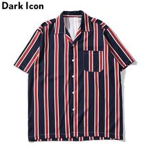 Dark Icon Striped Front Pocket Vintage Shirts Men Retro Street Mens 2019 Summer Beach