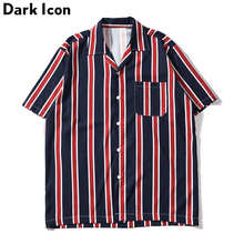 Dark Icon Striped Front Pocket Vintage Shirts Men Retro Street Men's Shirts 2019 Summer Beach Shirts Men недорого