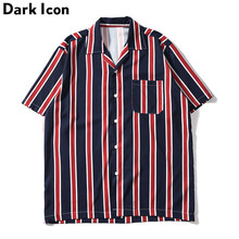 Dark Icon Striped Front Pocket Vintage Shirts Men Retro Street Men's Shirts 2019 Summer Beach Shirts Men(China)
