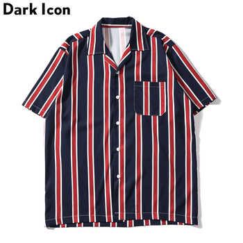 Dark Icon Striped Front Pocket Vintage Shirts Men Retro Street Men\'s Shirts 2019 Summer Beach Shirts Men - DISCOUNT ITEM  45 OFF Men\'s Clothing