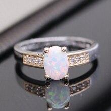 Красивая Романтическая Лаборатории созданы Многоцветный Огненный Опал Кольцо Для Женщин Юбилейной Двойной Цвет Позолоченный 6 цветов