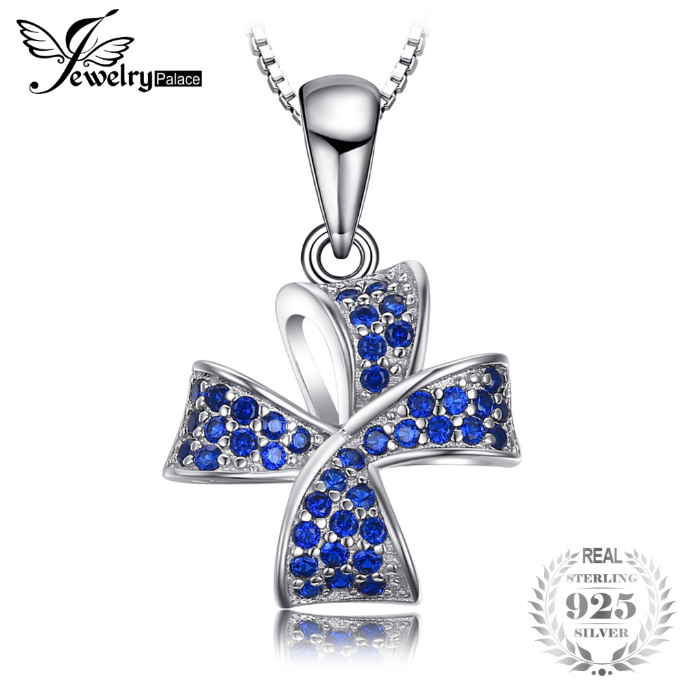Flower Knot 0.22ct Created Blue Spinel Pave Pendant Soild 925 Sterling Silver Fine Jewelry Not Include A Chain