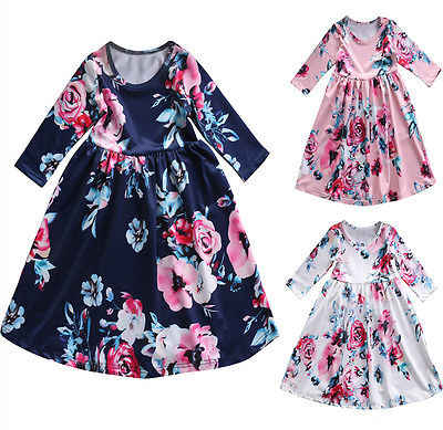 889faf5cbd21 New 2017 Cute Flower Girl Toddler Princess Dress Kid Baby Party Pageant Floral  Dress Clothes A