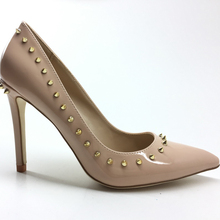 New Arrival Fashion Woman High Heels Pumps lady party Wedding Shoes classic lady pumps Nude  Rivet sexy shoes 10cm Patent heels women high heels pumps 6 8 10cm heels sandals white black nude sexy pointed toe wedding party lady shoes casual female footwear