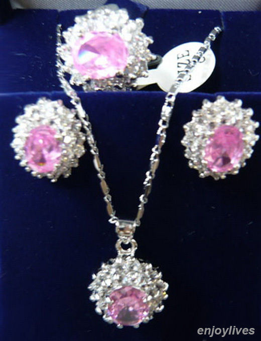 Hot selling> Free shipping Pink Cubic Zirconia White Plated Crystal Pendant Necklace Ear ...