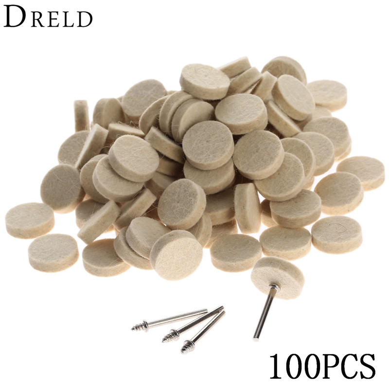 100Pcs 25mm Dremel Accessories Wool Felt Polishing Buffing Wheel Grinding Polishing Pad+4Pc 3.2 mm Shanks for Dremel Rotary Tool ladylike v neck short sleeve spliced laciness flower pattern dress for women