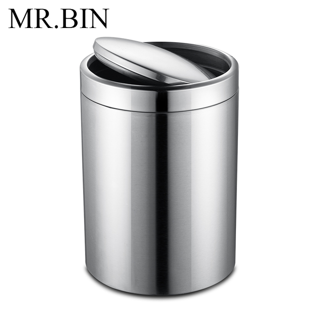 BIN Trash Can Stainless Steel Rolling Cover Type Dustbin Environmentally  Home Kitchen Bathroom Office