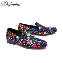 Deification Flowers Printed Mens Flats Casual Leather Shoes Moccasins Men Loafers Slip On Fashion Italian Male Driving