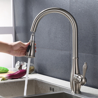Brushed nickel stain nickel Kitchen Faucet mixer tap Pull Out Sprayer Single Hole Swive deck mounted new 2018 tap kitchen